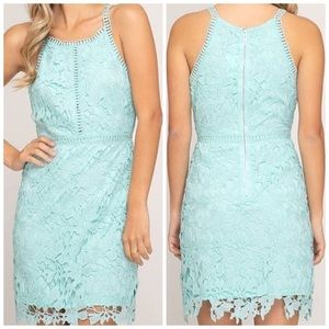 She and Sky Mediterranean Mint Lace Halter Dress
